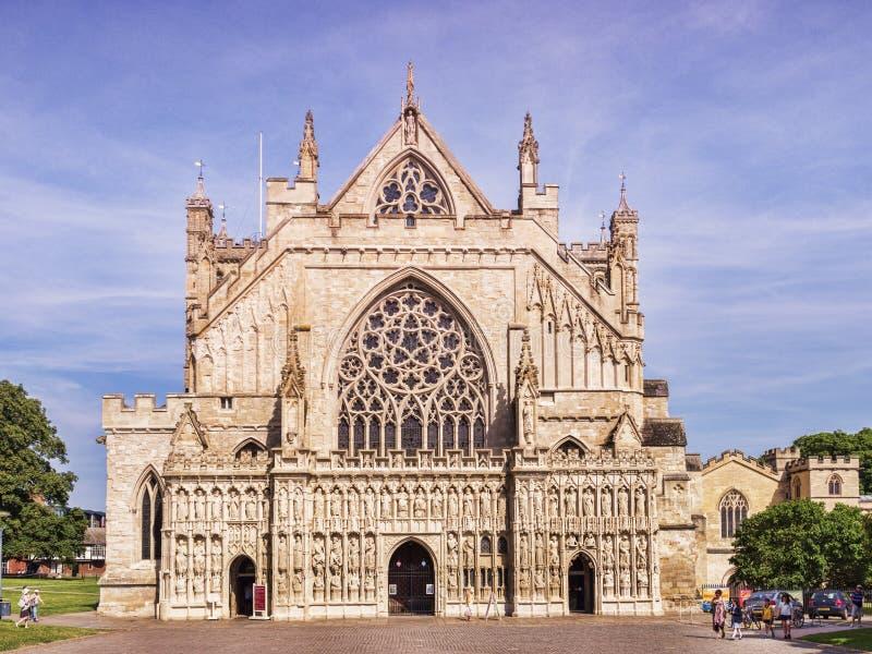 Exeter zachodu Katedralny przód zdjęcia stock