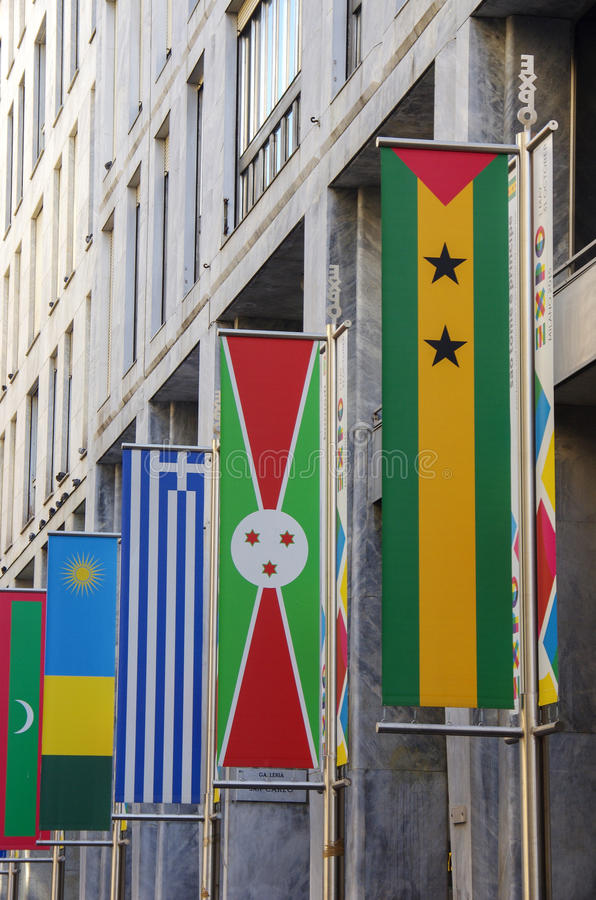 Expo flags in Milan stock image