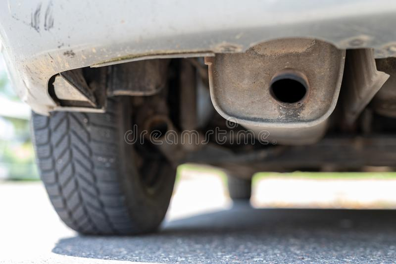 Exhaust pipe and car silencer. The car& x27;s exhaust system stock images