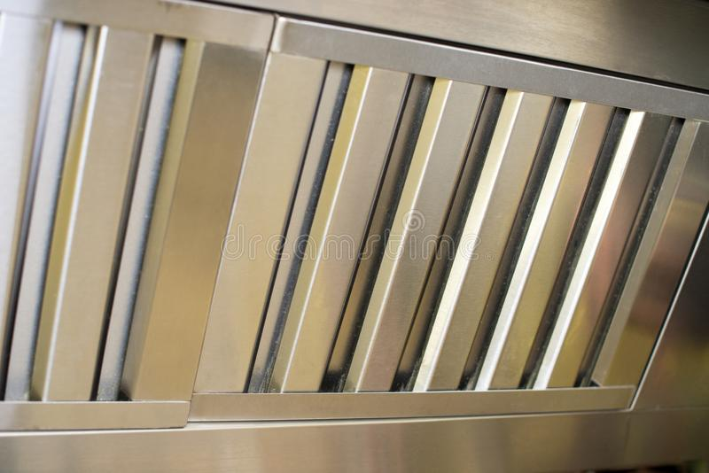 Exhaust systems, hood filters detail in a professional kitchen. royalty free stock photos