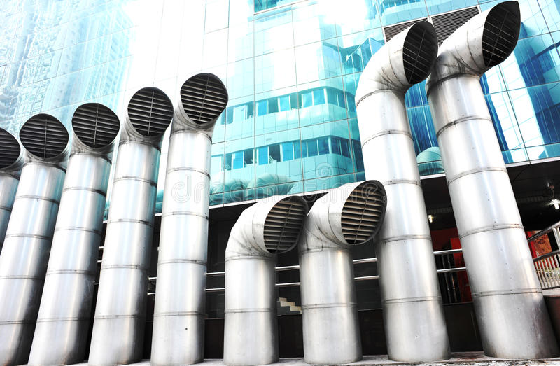 Exhaust vents system. For large buildings royalty free stock photo
