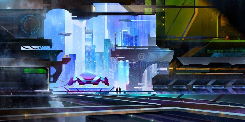 Exhausta es una ciudad fantástica del futuro paisaje con un spaceport en el estilo del Cyberpunk stock de ilustración