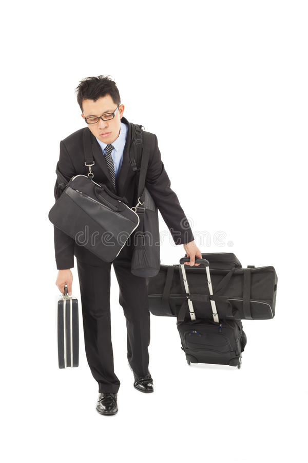 Download Exhausted Businessman Taking All Bags Stock Photo - Image: 38786219