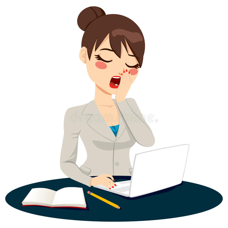 Exhausted Businesswoman Yawning Stock Vector