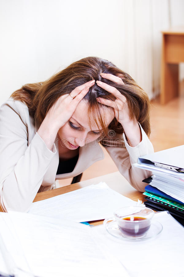 Download Exhausted female stock image. Image of headache, overworked - 24804631