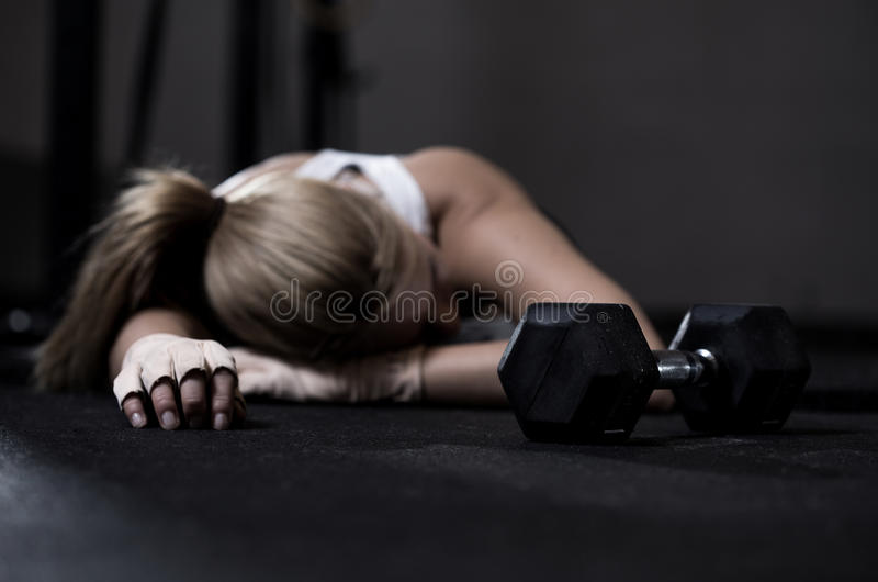 Exhausted girl royalty free stock photography