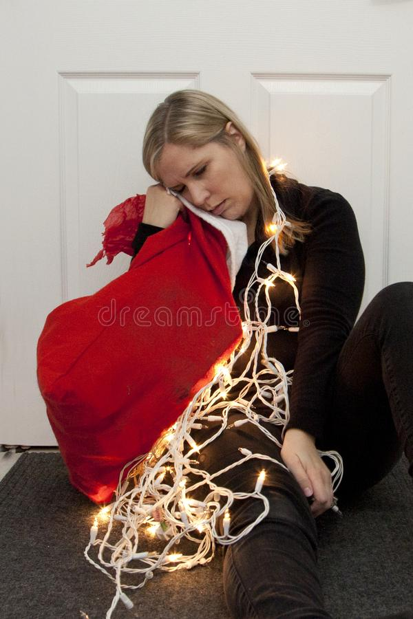 Exhausted from the holiday season royalty free stock photography