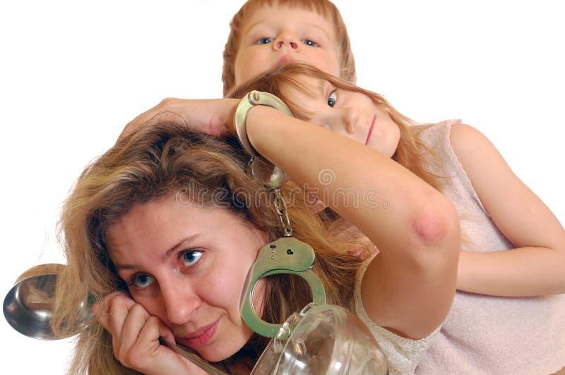 Exhausted housewife stock image