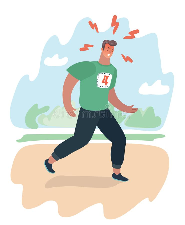 Exhausted man jogging in the park does. royalty free illustration