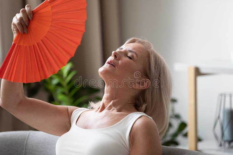Exhausted older woman waving fan close up, suffering from heat stock image