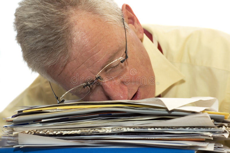 Exhausted senior businessman stock images