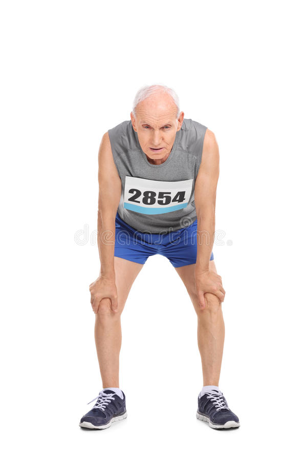 Exhausted senior runner on white background royalty free stock photo