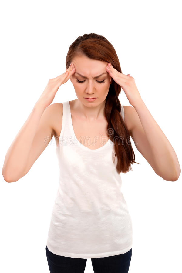 Exhausted, stressed woman - businesswoman. Holding her head royalty free stock photography