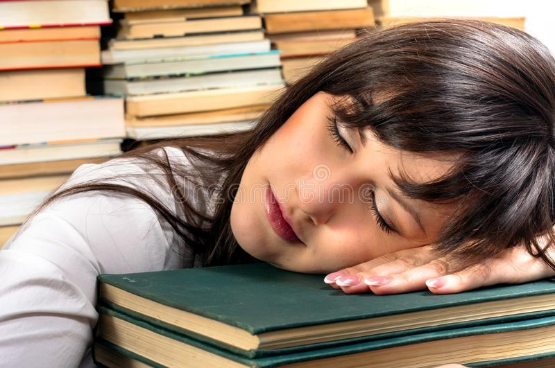 Download Exhausted student girl stock photo. Image of closed, person - 21490150