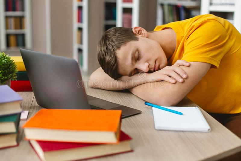Exhausted student sleeping on workplace in front of laptop. Tired student having nap in front of laptop, studying at library, empty space stock photos