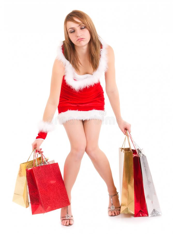 Download Exhausted Woman Christmas Shopping Royalty Free Stock Images - Image: 20637919
