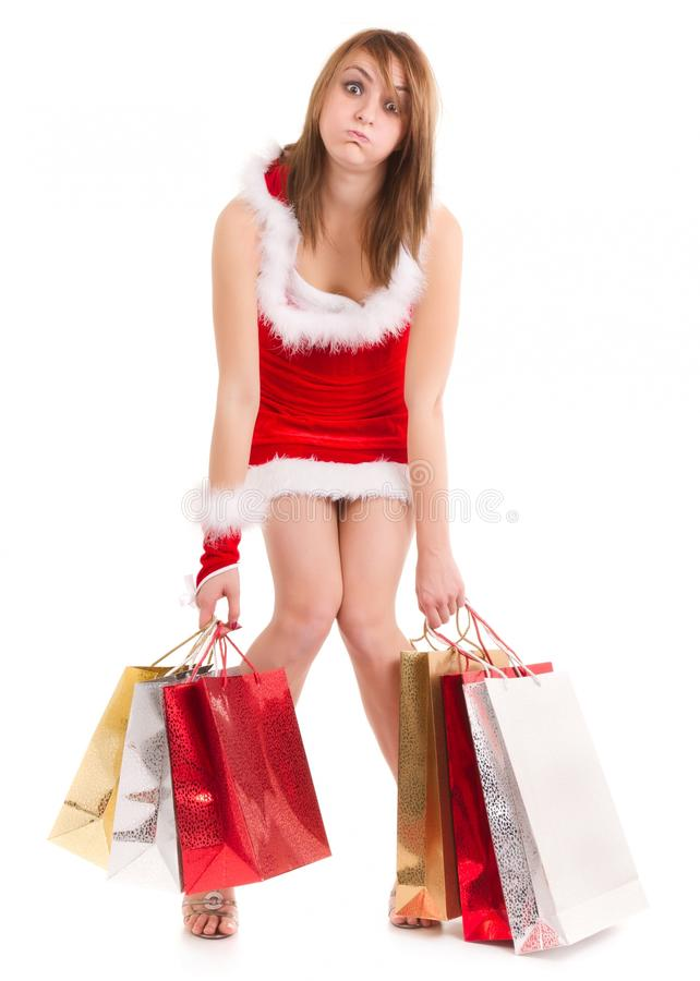 Exhausted Woman Christmas Shopping Stock Image