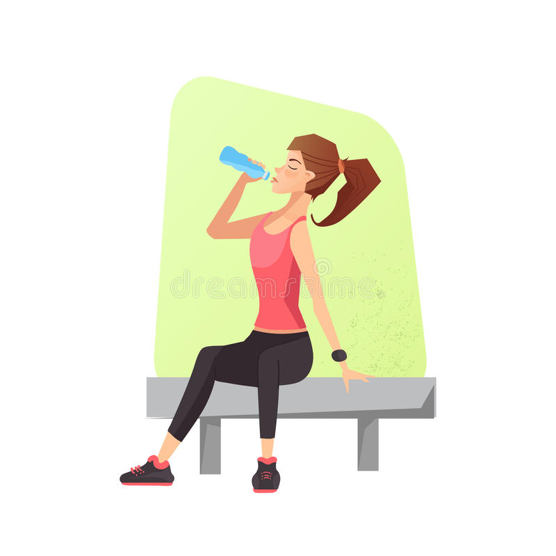Exhausted woman dehydrated. Feeling exhaustion and dehydration from working out at gym. Female siting on a bench and drinking water. Vector illustration vector illustration