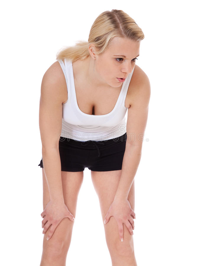 Download Exhausted Young Woman In Sports Wear Stock Photo - Image: 25655042