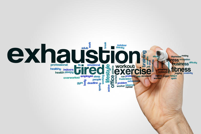 Exhaustion word cloud. Concept on grey background royalty free stock photography