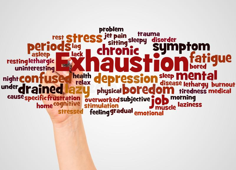 Exhaustion word cloud and hand with marker concept. On white background stock photography