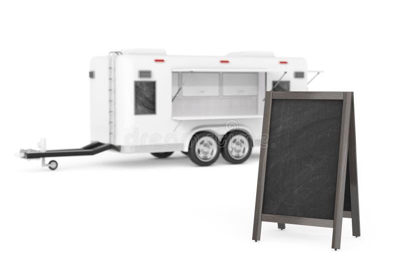 Exhibición al aire libre de la pizarra de madera en blanco del menú cerca de la corriente aérea Cara libre illustration