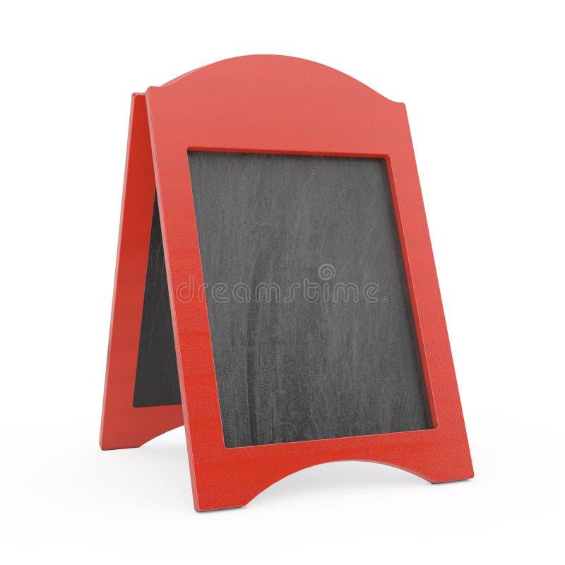 Exhibición al aire libre de la pizarra de madera en blanco roja del menú representación 3d ilustración del vector