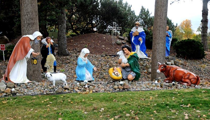 Exhibición al aire libre grande de la Navidad o del día de fiesta de la natividad foto de archivo