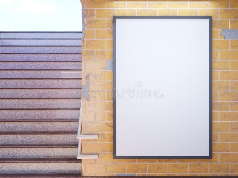 Exhibición ascendente falsa de los anuncios de la plantilla de los medios del cartel en la estación de metro ejemplo 3D, rindiend libre illustration