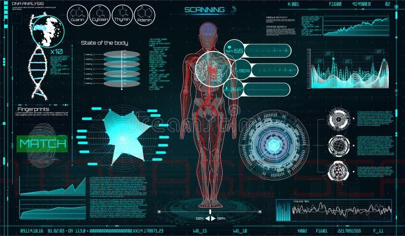 Exhibición ascendente HUD UI de la cabeza para el App médico stock de ilustración