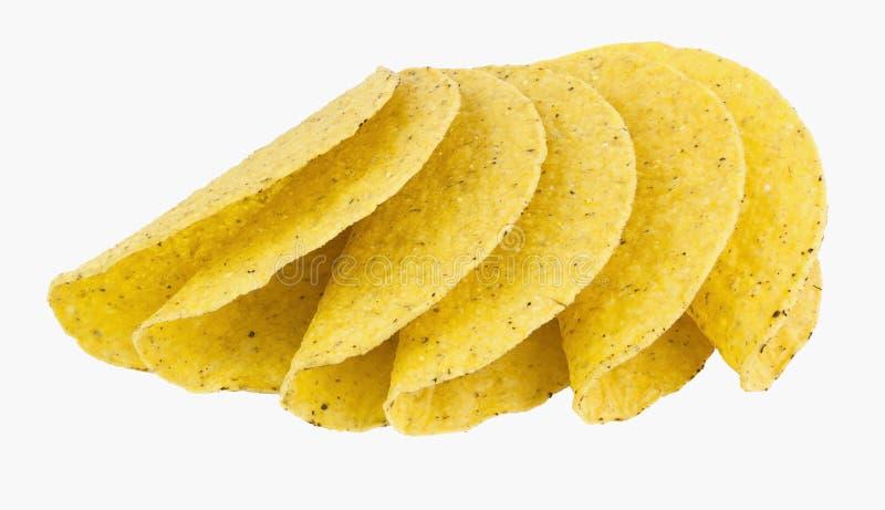 Exhibición avivada de las cáscaras amarillas del taco del maíz fotos de archivo