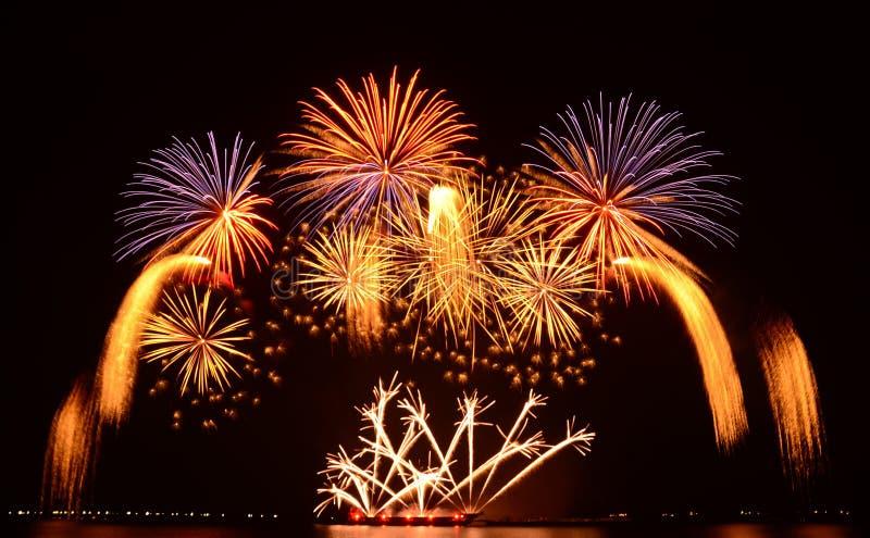 Exhibición colorida de los fuegos artificiales imagen de archivo libre de regalías