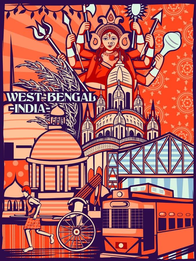 Exhibición cultural colorida del estado Bengala Occidental en la India stock de ilustración