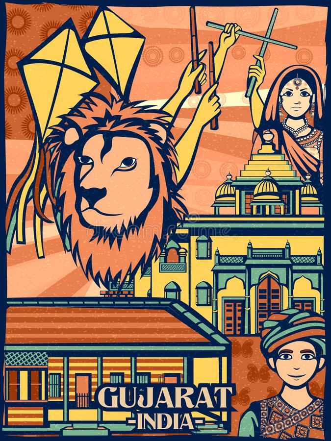Exhibición cultural colorida del estado Gujrat en la India stock de ilustración