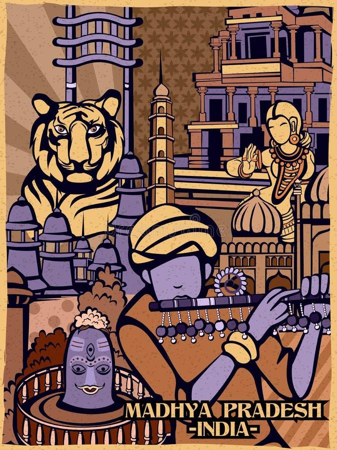 Exhibición cultural colorida del estado Madhya Pradesh en la India libre illustration