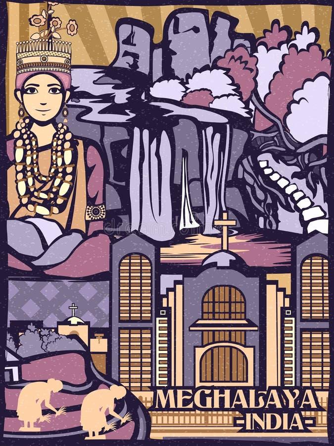 Exhibición cultural colorida del estado Meghalaya en la India libre illustration