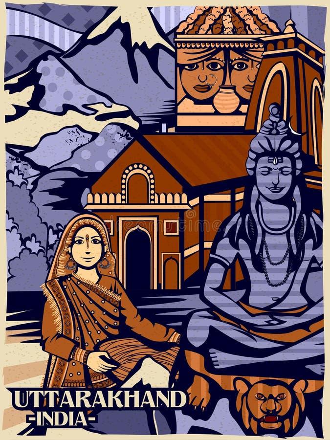 Exhibición cultural colorida del estado Uttarakhand en la India libre illustration