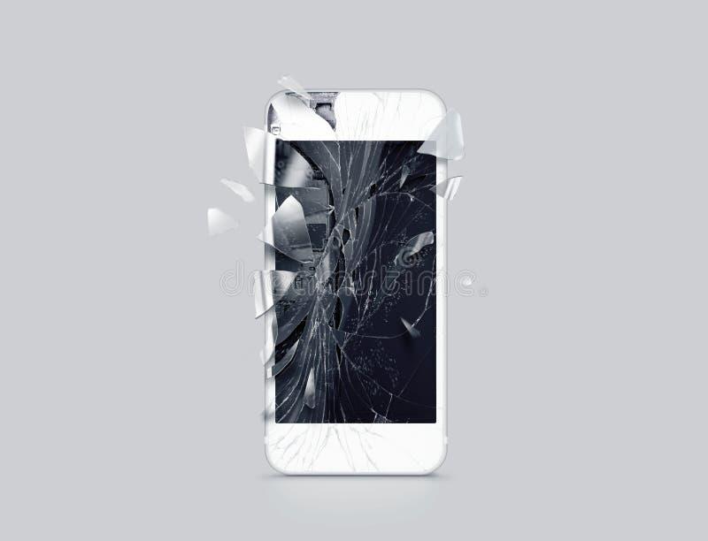 Exhibición dañada del teléfono celular, cascos dispersados, representación 3d ilustración del vector