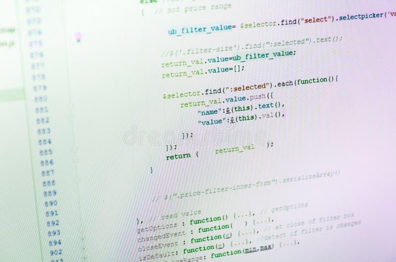 Exhibición de código de programa en el ordenador foto de archivo libre de regalías