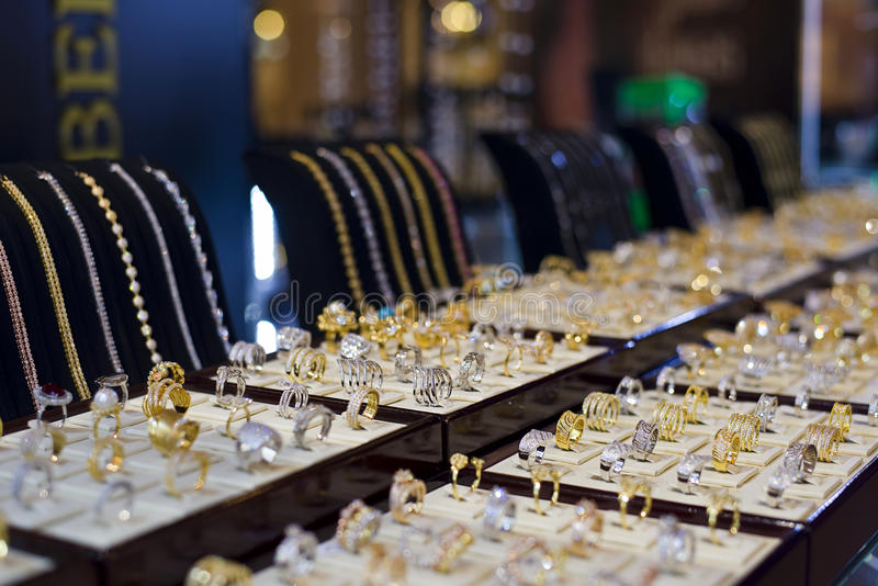 Exhibición de la joyería fotos de archivo libres de regalías