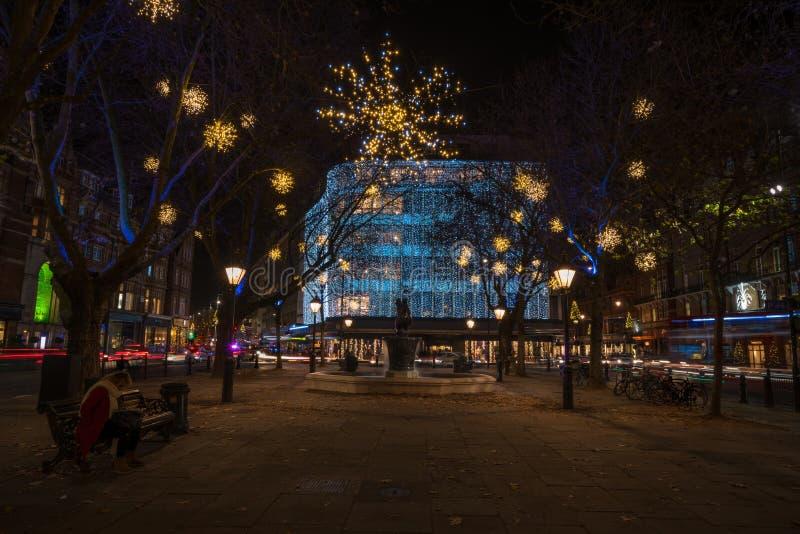 Exhibición de las luces de la Navidad en el duque de York, Londres Reino Unido foto de archivo