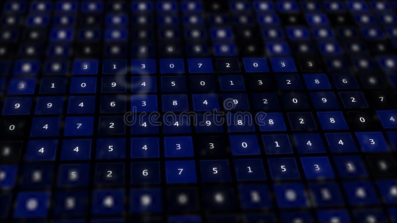 Exhibición de los datos del código binario con filas de los símbolos de los números libre illustration
