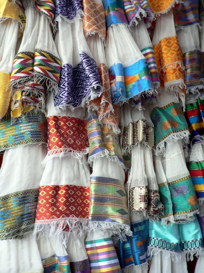 Exhibición de materias textiles etíopes tradicionales, Addis Ababa foto de archivo libre de regalías
