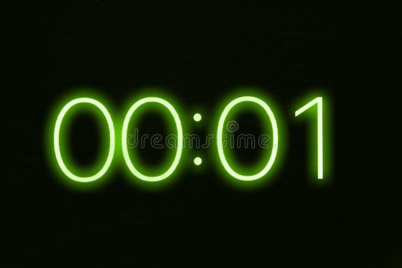 Exhibición del cronómetro del contador de tiempo del reloj de Digitaces que muestra 1 un segundo Emergencia, tensión, fuera del c fotos de archivo libres de regalías