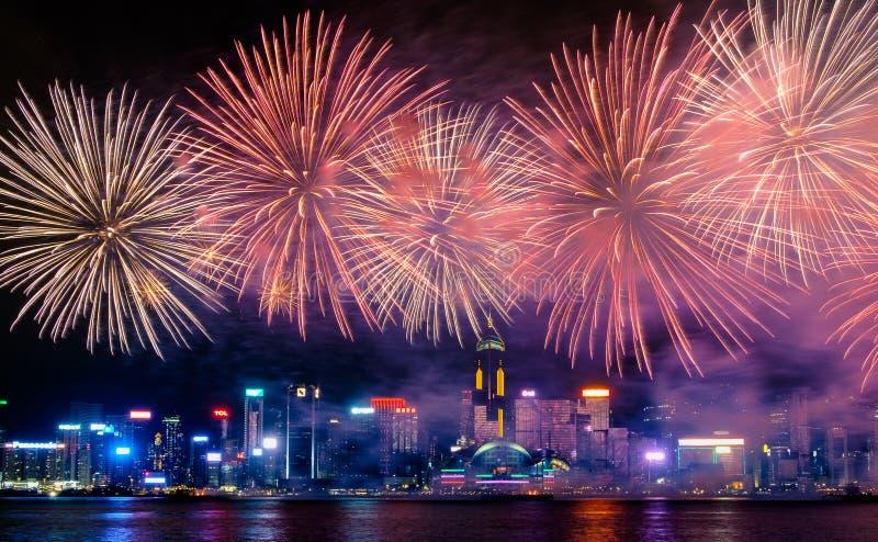 Exhibición del fuego artificial, Hong Kong 2017 fotos de archivo libres de regalías