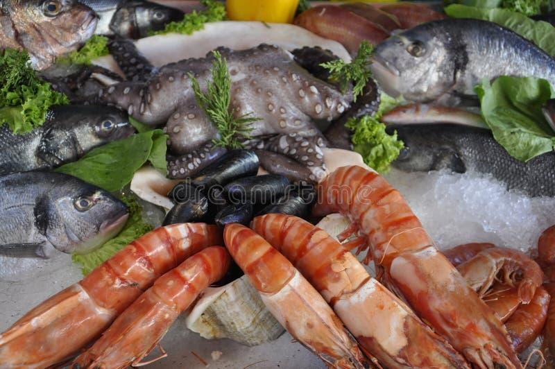 Exhibición fresca de los mariscos en un disco del restaurante de Heraklion fotos de archivo