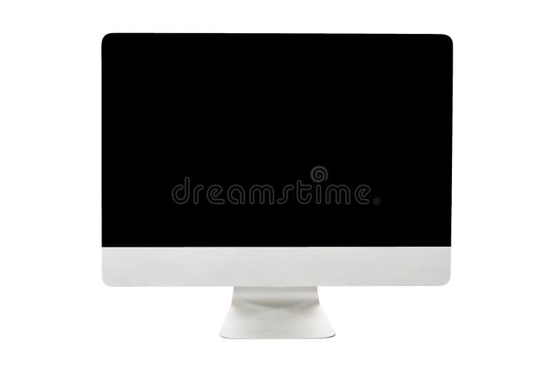 Exhibición grande del monitor de computadora de la PC aislada en el fondo blanco Maqueta de las TIC imagenes de archivo