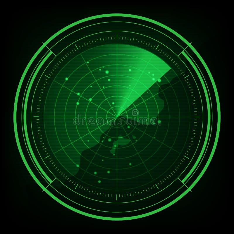 Exhibición militar del verde del radar con los coordenadas para - el ejemplo ilustración del vector
