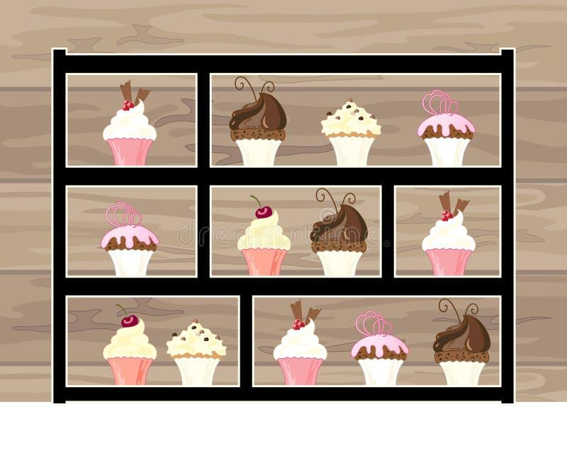 Exhibición moderna de la torta para el té de tarde con las tortas deliciosas con un fondo de madera ilustración del vector