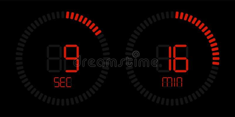 Exhibición roja digital del contador de tiempo de la cuenta descendiente del cronómetro ilustración del vector